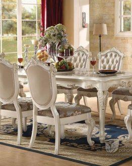 meja makan ukir mewah kayu mahoni