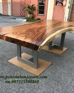 meja kafe kayu trembesi